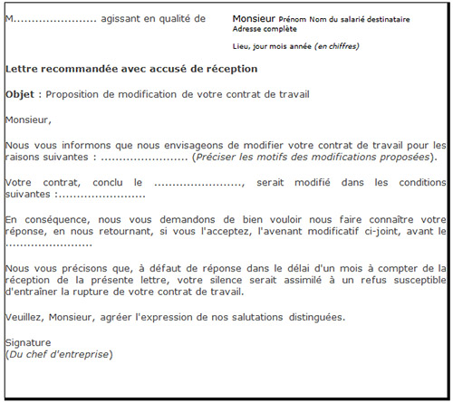 contrat de travail extra modèle Modèle de proposition de modification pour motif non économique contrat de travail extra modèle