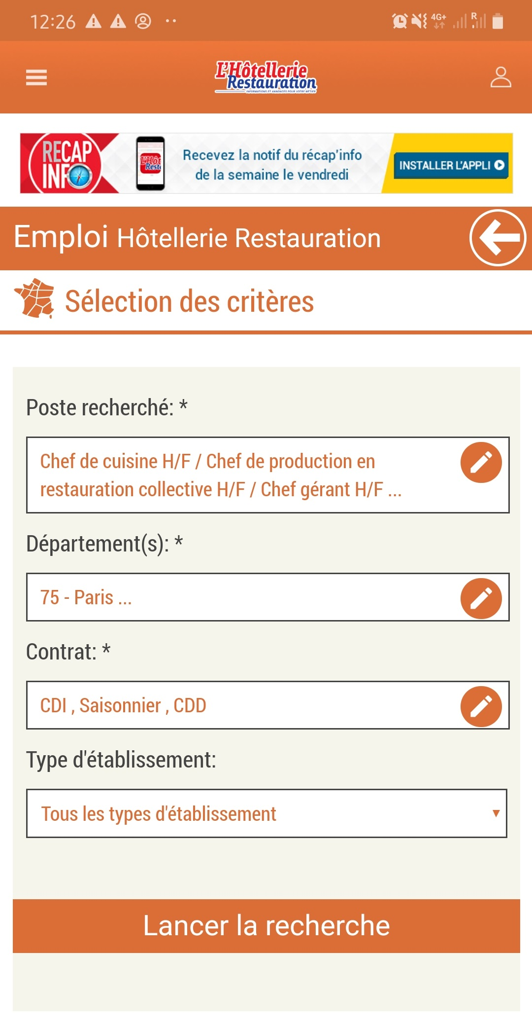 Visuel application mobile