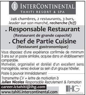 Type de contrat contrats tous les types cdi saisonnier for Offre emploi chef de cuisine