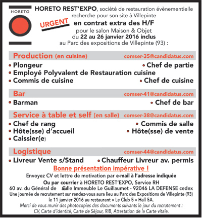 Offres d 39 emploi restauration collective for Offre emploi chef gerant restauration collective