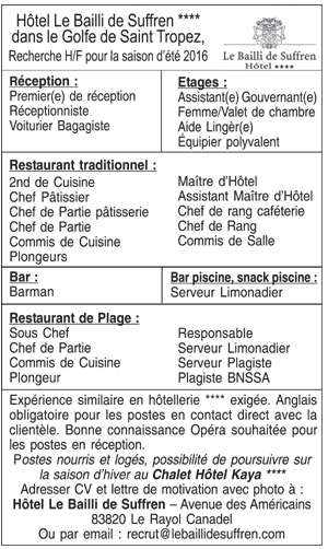 Emploi h tellerie restauration for Responsable de cuisine collective