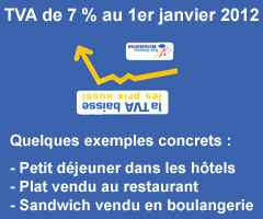 TVA de 7 % au 1er janvier 2012