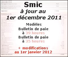 Smic à jour au 1er décembre 2011