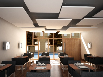 Rockfon eclipse tm un lot pour associer design et for Materiel plafond suspendu