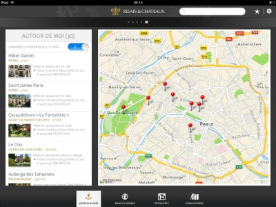 Relais ch teaux lance son application ipad for Hotel autour de moi