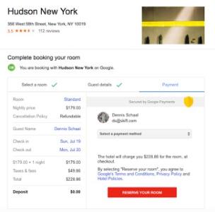 Google entre dans la danse de la r servation en ligne for Plateforme reservation hotel