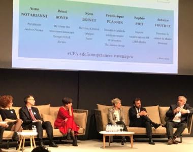 De g à d : Sophie Piot (LHH Altédia), Rémi Boyer, Anna Notarianni, Frédérique Plasson, Antoine Foucher (directeur de cabinet de Muriel Pénicaud) et Sven Boinet.