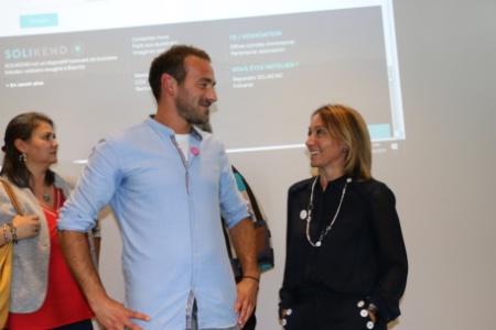 Yoann Magnin, fondateur et directeur de Solikend, et Edwige Dupuch, directrice de l'hôtel Best Western Karitza à Biarritz.
