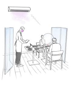 Paravents et ellipse de table selon Patrick Jouin