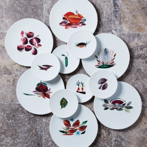 Dame Nature par Maison Fragile : une série de 12 assiettes en porcelaine pour  les créations légumières du chef étoilé Alain Passard.