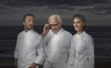 Romain Meder, Alain Ducasse et Jessica Préalpato.