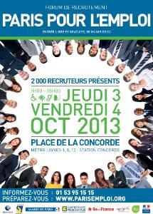 Paris pour l 39 emploi les 3 et 4 octobre prochains for Salon pour l emploi